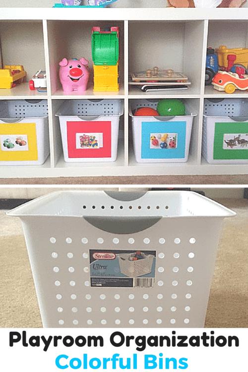 Playroom Organization Colorful Bins for Toys