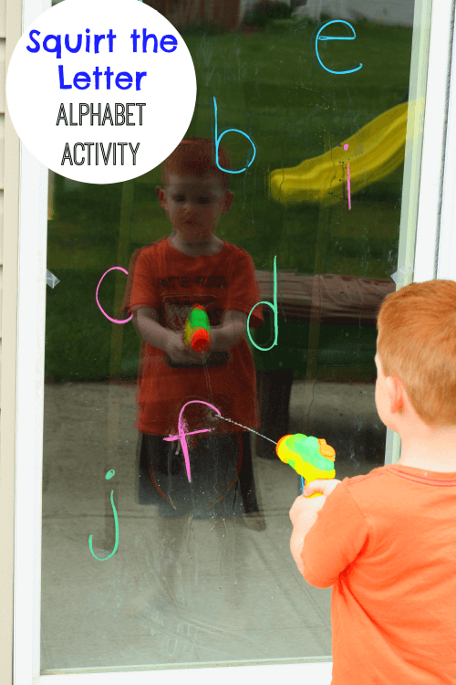 Preschoolers will squirt letters with a water gun when they do this fun alphabet activity!