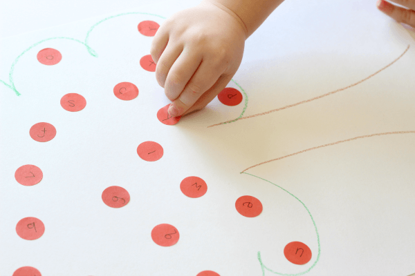 Dot sticker apple tree alphabet activity