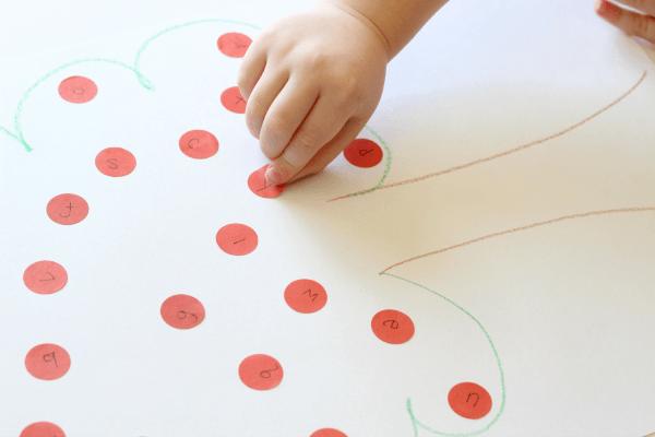 Dot sticker apple tree alphabet activity