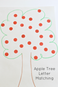 Apple tree letter matching activity for preschoolers.