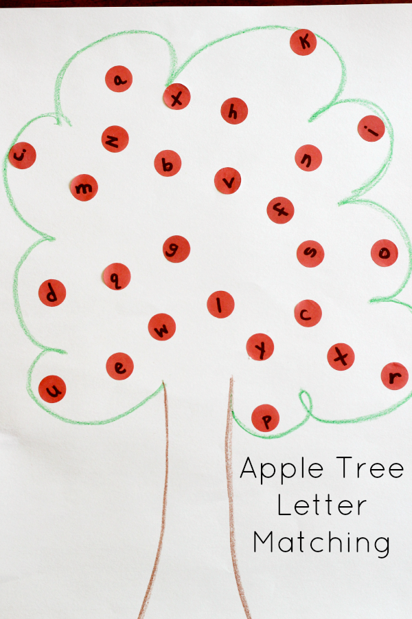 Apple tree alphabet activity for preschoolers.
