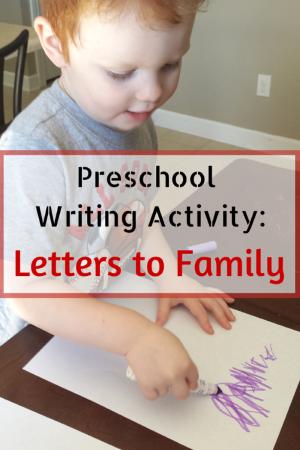 Preschool Writing Activity: Letters to Family #PlayfulPreschool