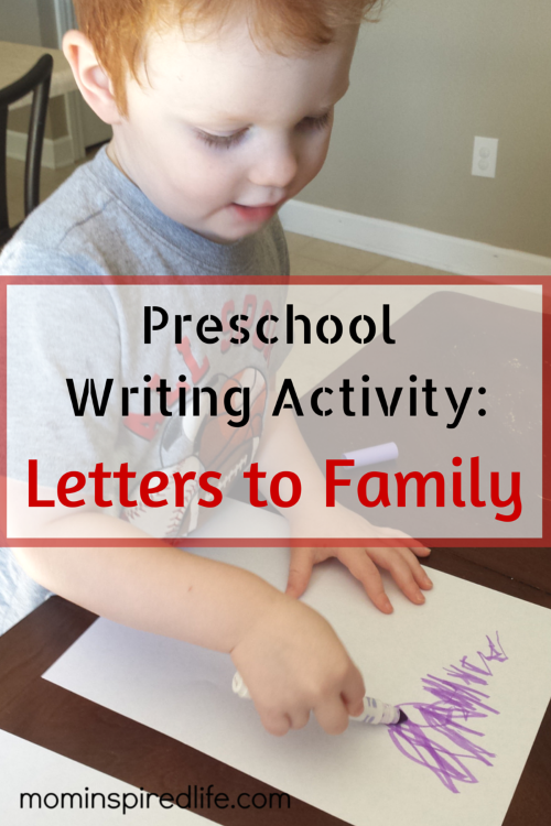 Writing Activity for Preschoolers: Letters to Family
