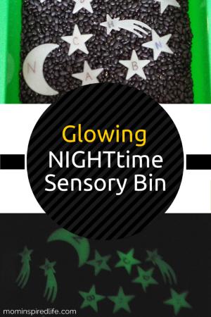 Alphabet Activities: Glowing Nighttime Sensory Bin