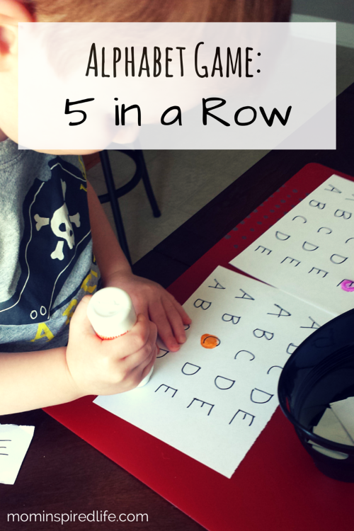 Alphabet Activities 5 Letters In A Row