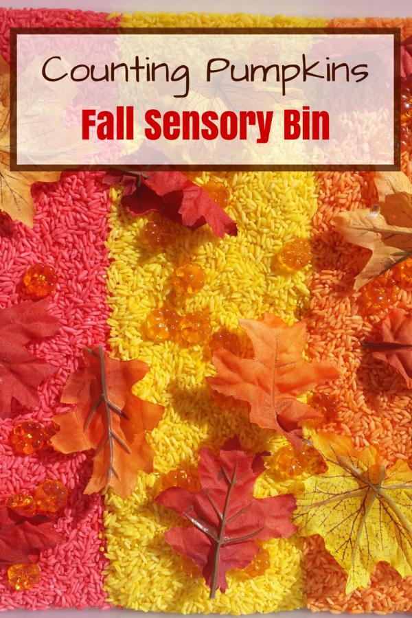 Counting Pumpkins Fall Sensory Bin