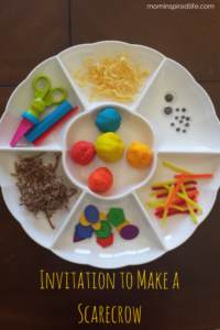 Invitation to Make a Scarecrow with Play Dough. This fun preschool fine motor activity will be a hit!
