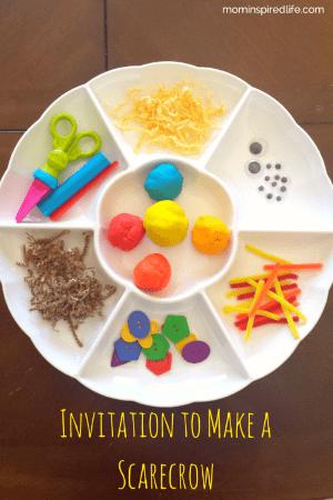 Make a scarecrow activity with play dough. A fun scarecrow craft activity for preschool!
