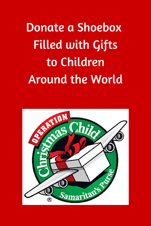 Operation Christmas Child. Donate a Shoebox to a child somewhere else in the world and bring joy and hope!
