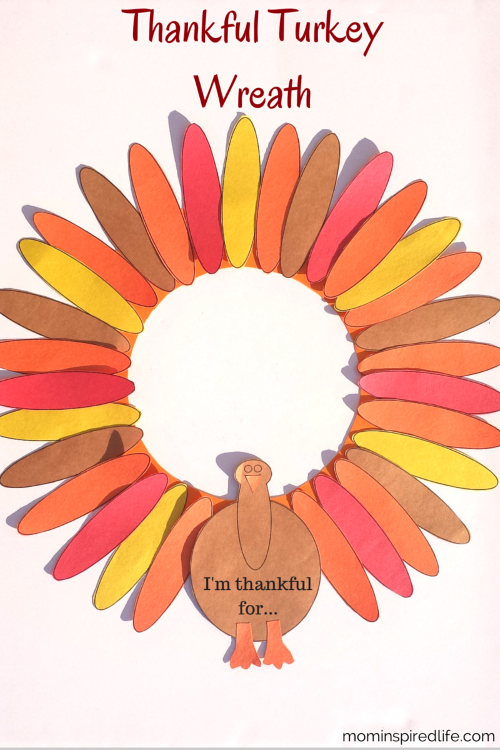 Thankful Turkey Wreath Thanksgiving Tradition from mominspiredlife.com. This is a great way to put the focus on gratitude during the month of November.