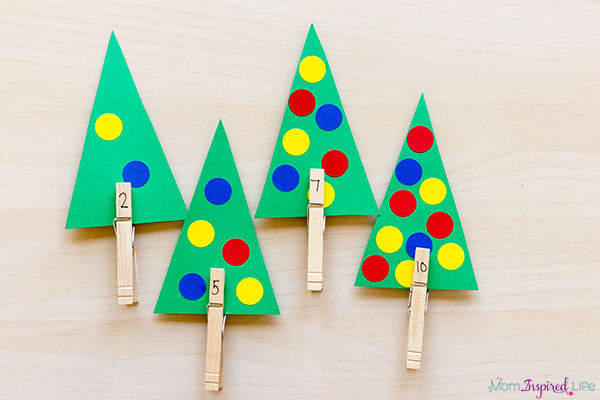 Christmas tree math activity that also develops fine motor skills.