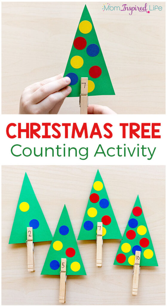 This Christmas tree counting activity is a fun way for preschoolers to learn number sense this holiday season!