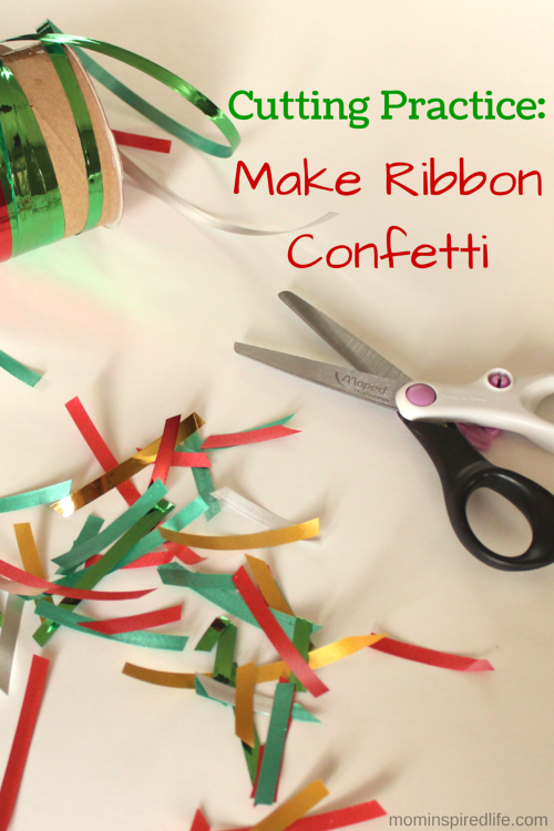 Cutting Practice: Make Ribbon Confetti. Fun fine motor activity that helps develop scissor skills in young kids.