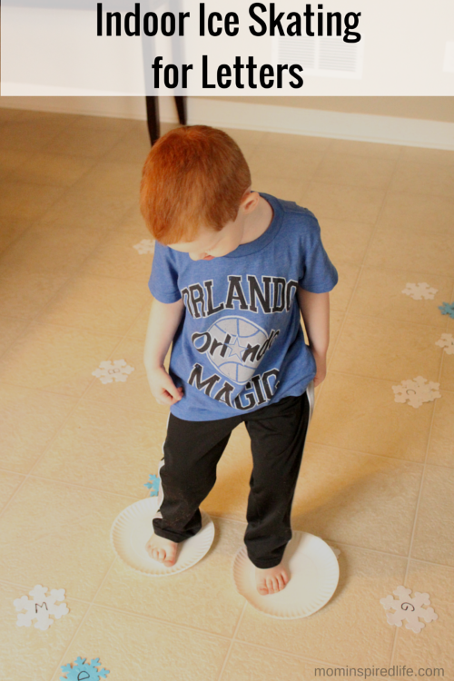 Winter Alphabet Activity: Indoor Ice Skating for Letters. Learn letter identification and letter sounds with this fun, active game!