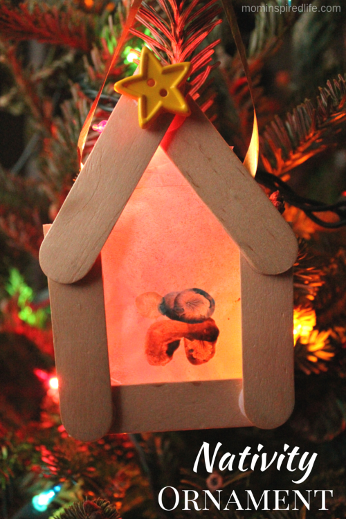 Kid-Made Nativity Ornament inspired by the book Room for a Little One.