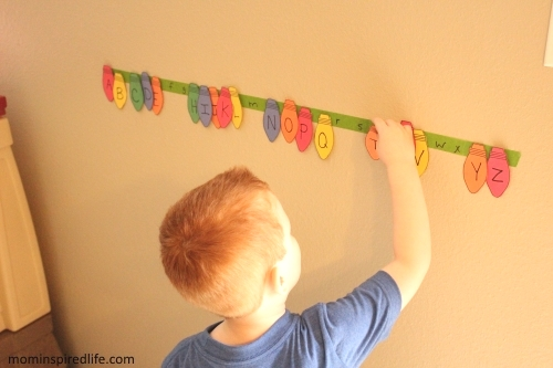 Matching ABCs Christmas Lights Activity for Preschoolers