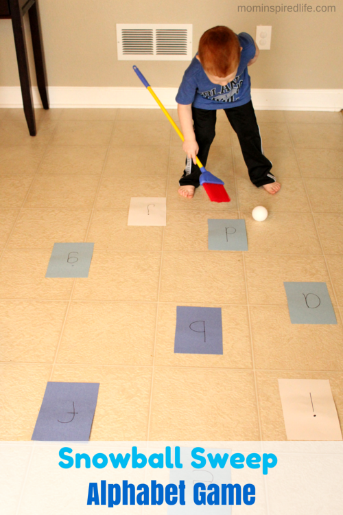 Snowball Sweep Winter Alphabet Game. Develop coordination and gross motor skills while learning letter sounds
