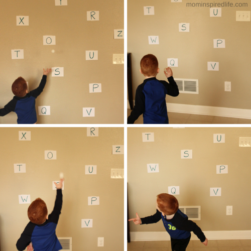 Snowball Throw Winter Alphabet Game. Active letter learning activity for preschoolers.