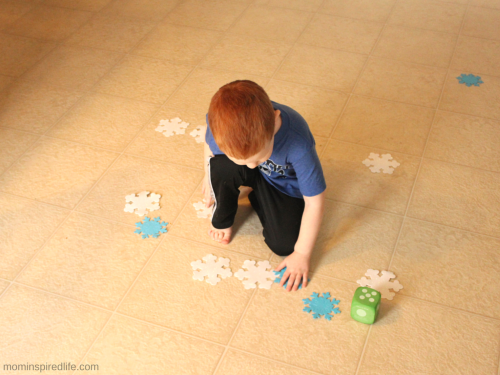 Snowy Mountain Winter Math Activity. Early math game to practice counting and 1:1 correspondence while developing large motor skills.