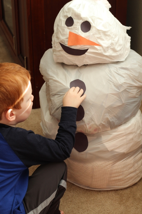 Build a Snowman in Your House! This active creative exploration is lots of fun!