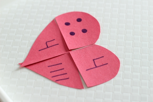 valentines heart counting and numbers