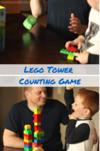 Lego Duplo Counting Game. Preschool math activity that teaches counting and one to one correspondence while developing critical thinking skills.