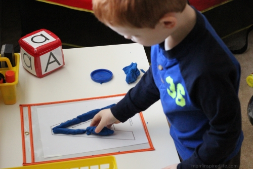 Literacy Learning Station play dough letters