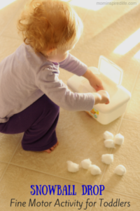 Snowball Drop Fine Motor Activity for Toddlers