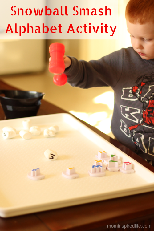Snowball Smash Alphabet Activity for Preschoolers. Practice letter identification and letter sounds with this fun winter themed activity!