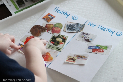 Teaching Nutrition: Healthy or Not Activity for Young Kids. Teaches sorting and categorizing.