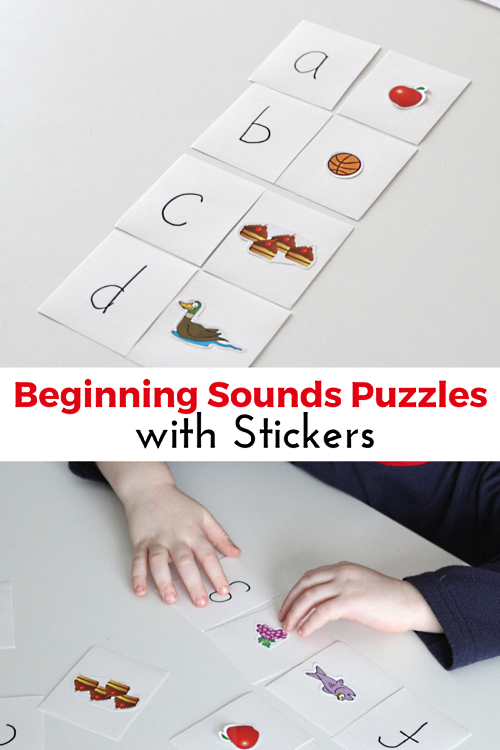 Beginning Sounds Matching Puzzles with Stickers. Teach kids to identify the beginning sound in a word with this literacy learning activity!