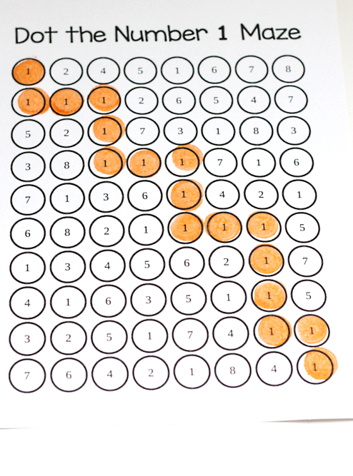 Dot The Number Mazes