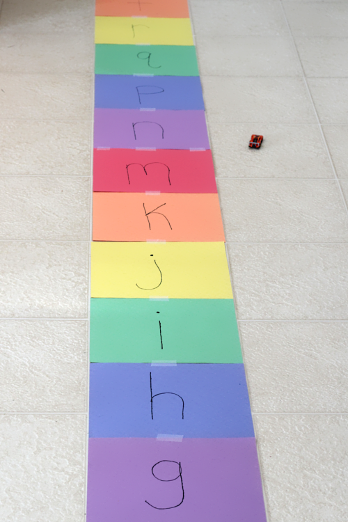 Learning Letter Sounds on Alphabet Road. A fun, hands-on literacy learning activity