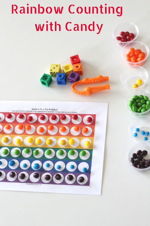 Rainbow Counting Activity with Candy. Count and develop fine motor skills at the same time!