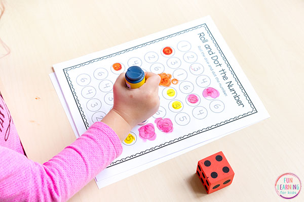 This roll and dot the number printable is perfect for your math centers.