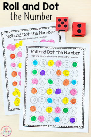 Roll and Dot the Number Math Activity