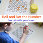 Preschool Math Game: Roll and Dot the Number