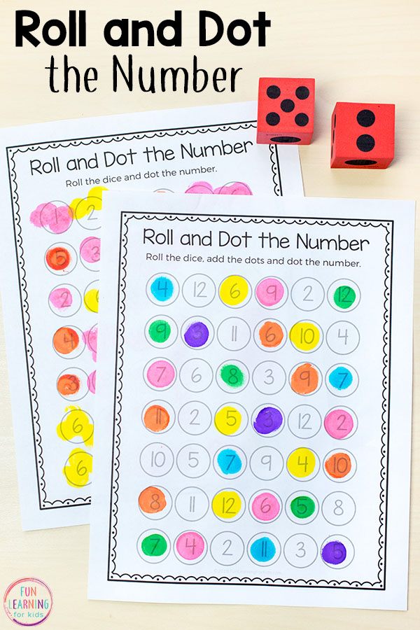 This roll and dot the number activity is fun, hands-on way for kids to learn numbers and develop number sense in preschool and kindergarten.