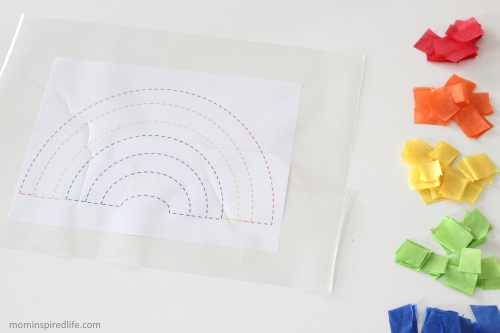 Tissue Paper Rainbow Suncatcher. This gorgeous craft is perfect for Spring!