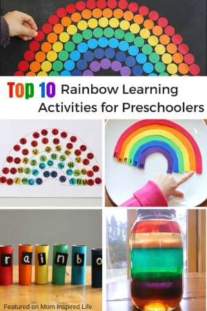 Top 10 Rainbow Learning Activities for Preschoolers. Literacy, math and science activities with a rainbow theme!