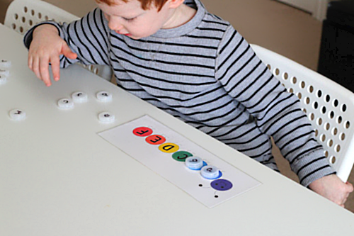 Search through bottle cap letters and match to the letter matching caterpillar