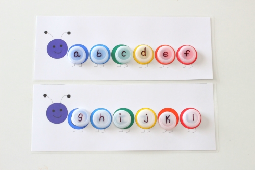 Uppercase and Lowercase Letter Matching Caterpillars with Bottle Caps