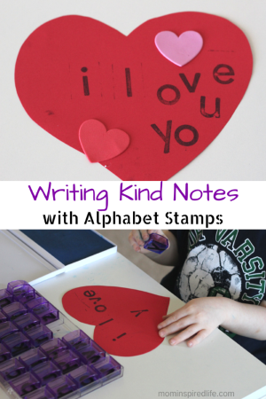 Writing Kind Notes with Alphabet Stamps. A pre-writing activity for preschoolers.