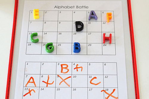 The Alphabet Battle game board. Letter learning game for preschoolers.