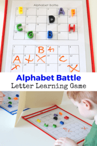 Just like Battleship, but with letters! Learn the alphabet with this fun game!