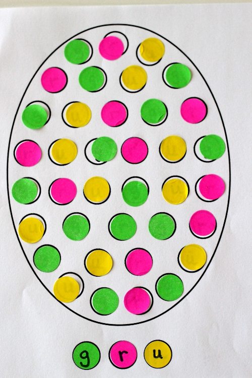 Finished letter matching Easter egg with dot stickers