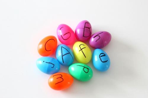 Write alphabet letters on Easter eggs