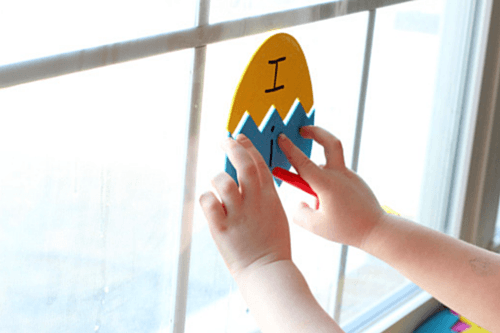 Match lowercase letters, uppercase letters and sight words that are written on the Easter eggs