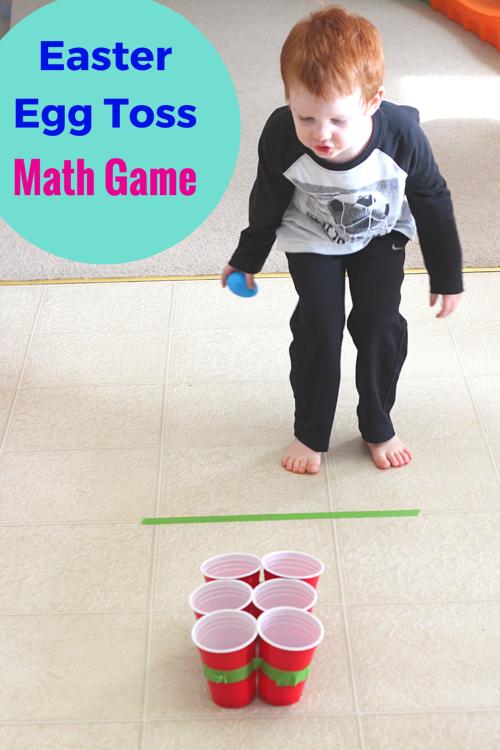 easter egg toss game for learning addition